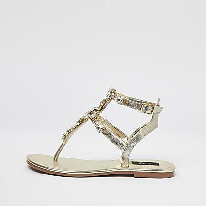 Gold wide fit embellished caged sandals