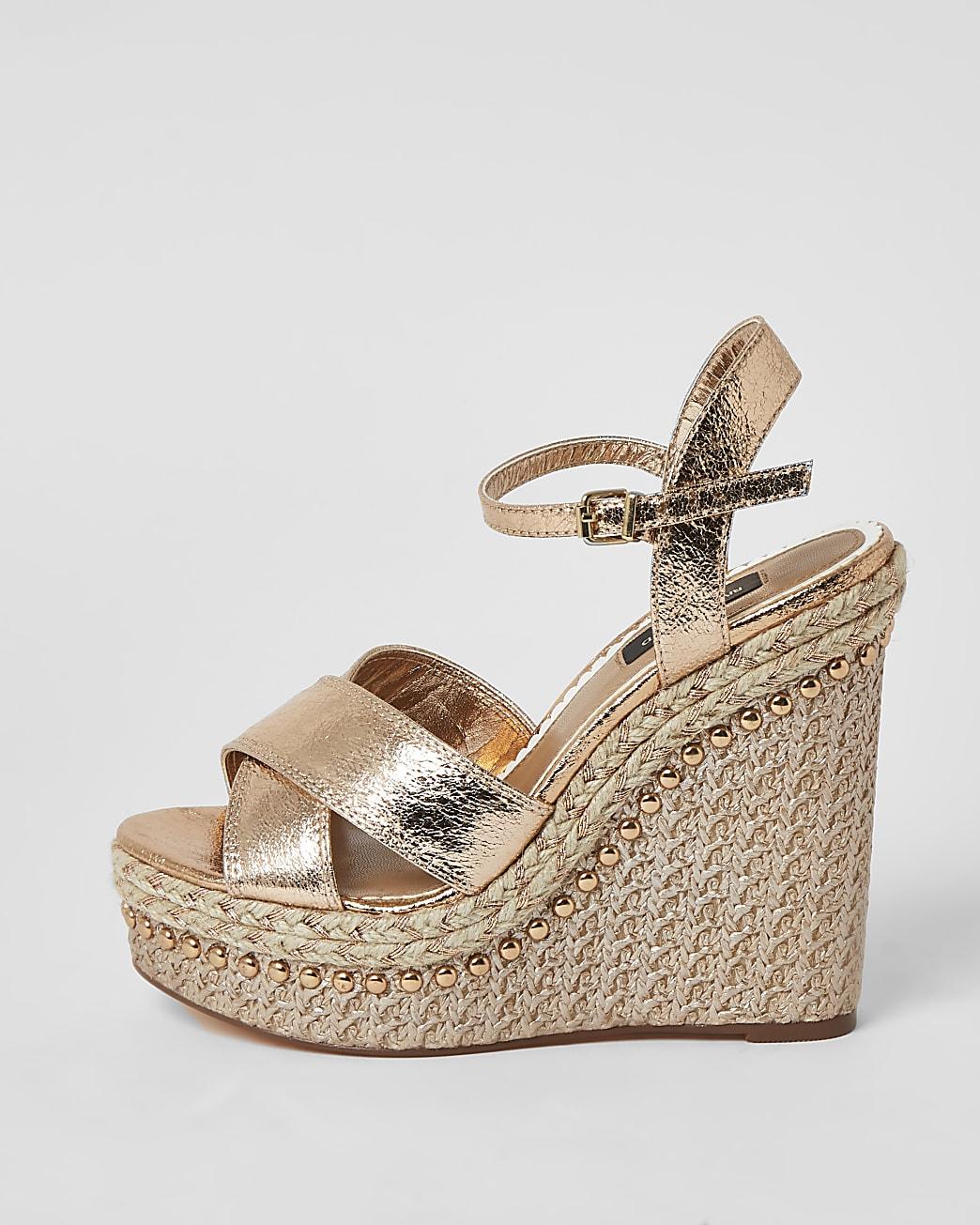 Gold wide fit embellished wedge sandals
