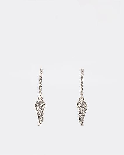 Gold wing pendant drop hoop earrings