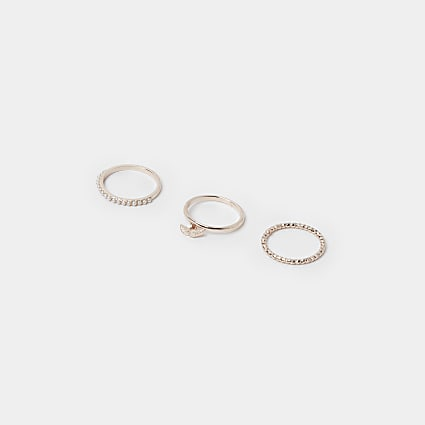 Gold wing stacking ring 3 pack