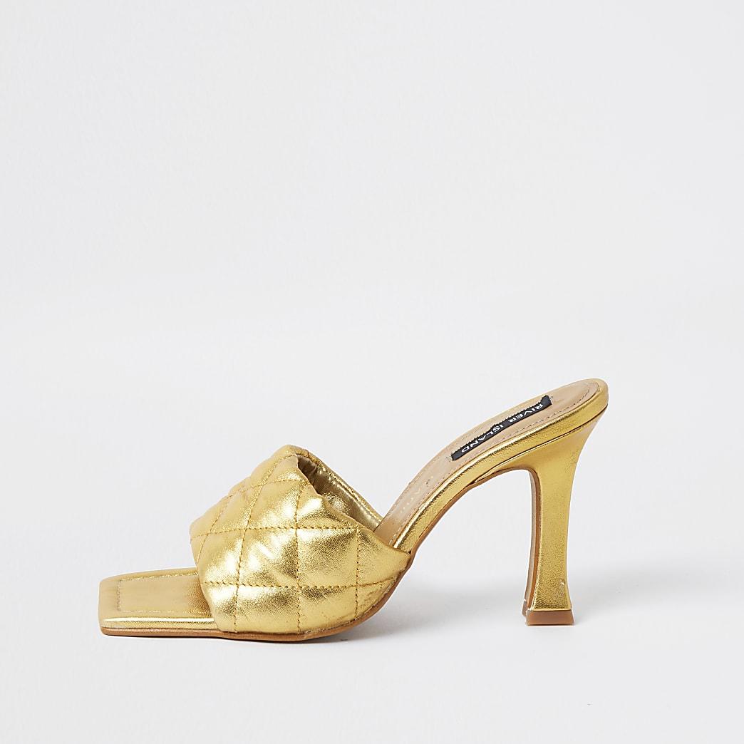 Gold woven square toe mule sandal