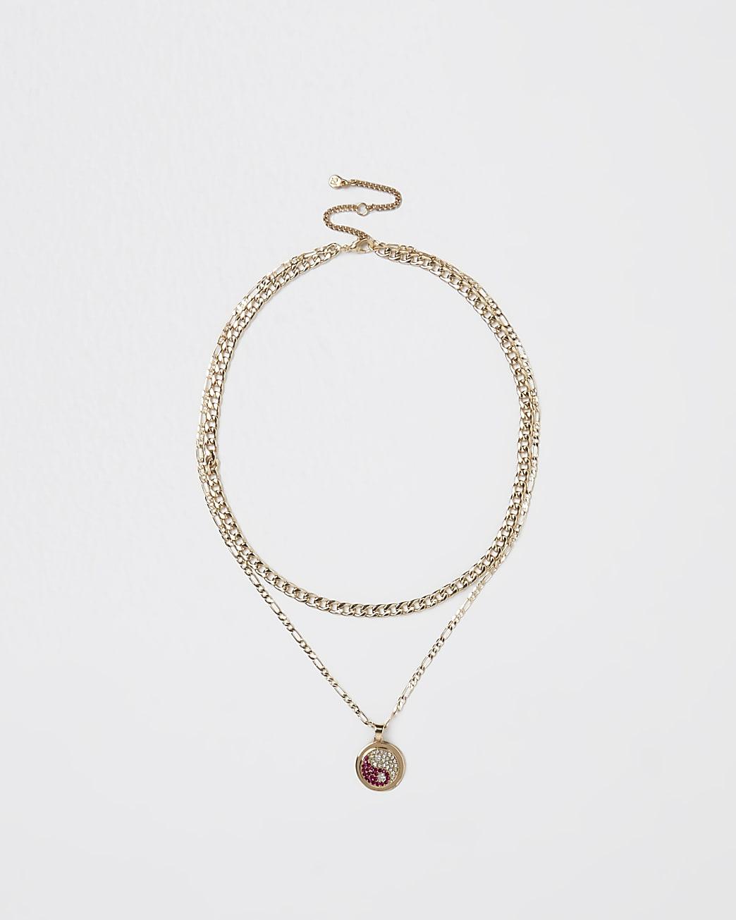 Gold Yin and Yang pendant layering necklace