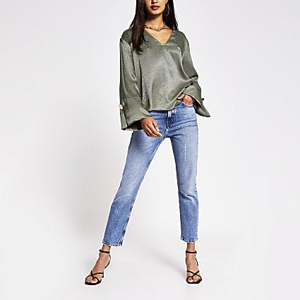 Green - Light Ls V Neck Luxe Jacquard Blouse