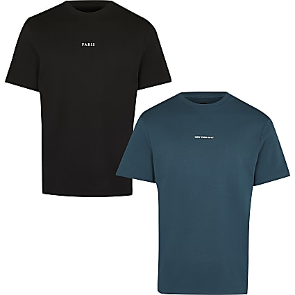 Green & black city graphic t-shirts 2 pack