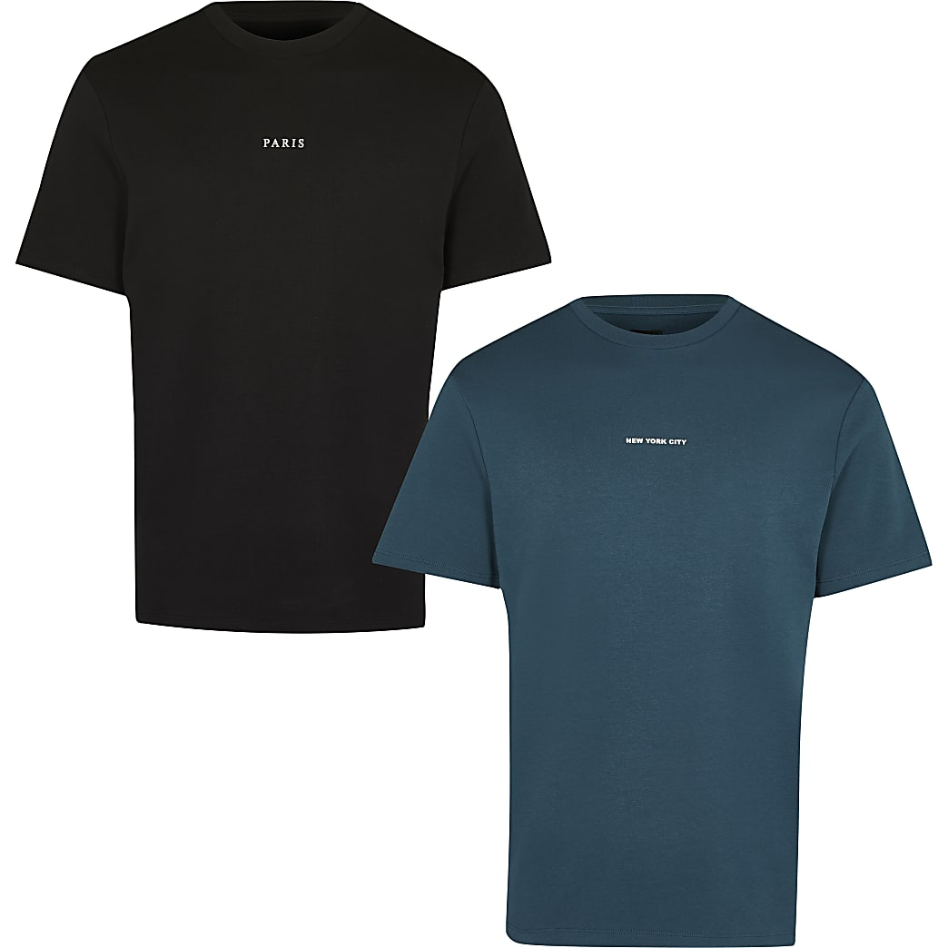 Green & black graphic t-shirts 2 pack