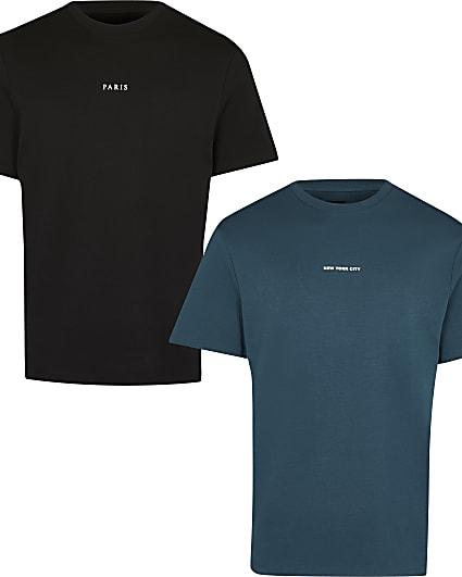 Green & black regular graphic t-shirts 2 pack