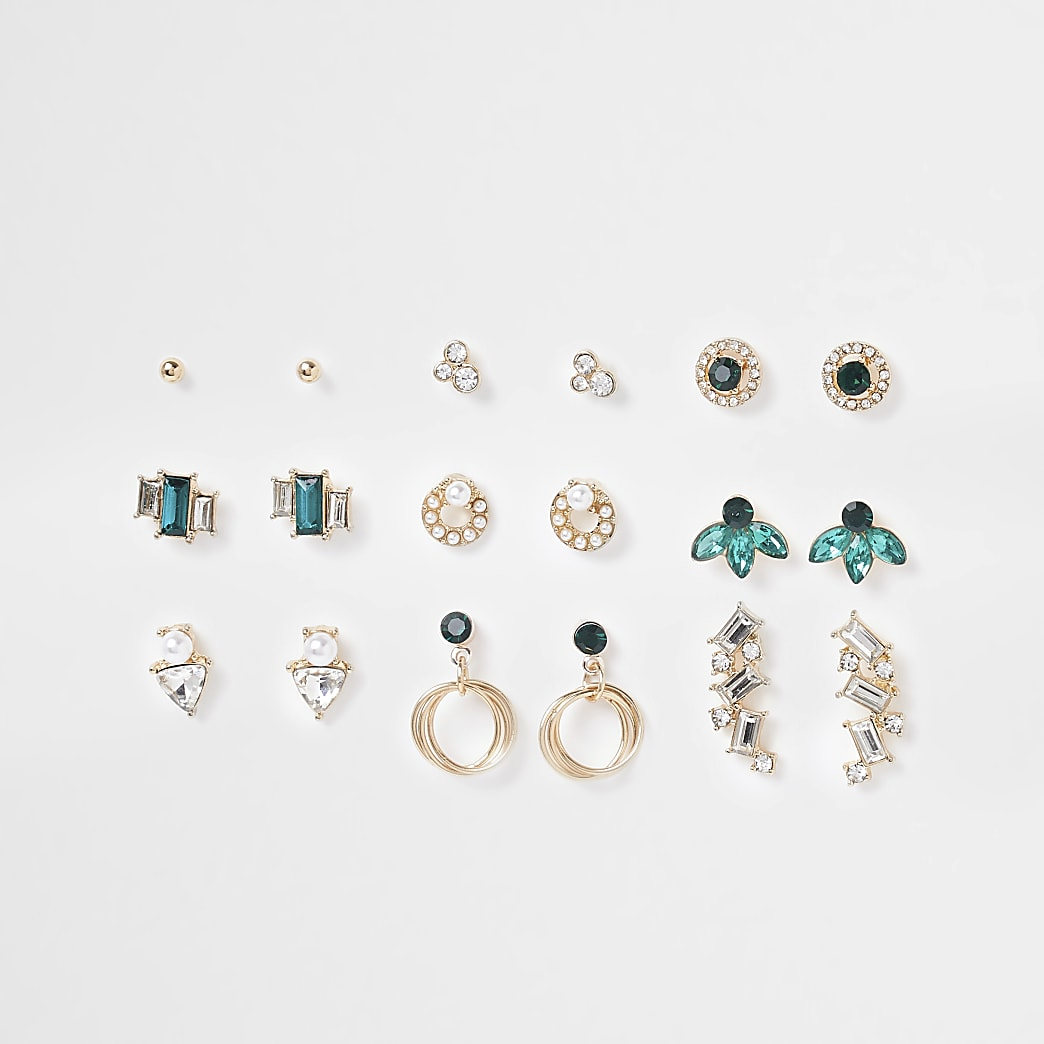 Green and gold multi pack earrings