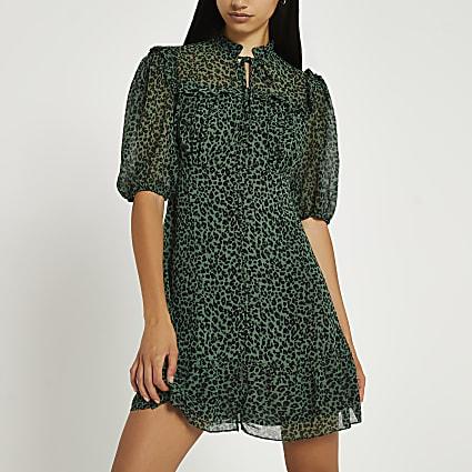 Green animal print frill detail tie dress