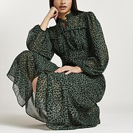 Green animal print midi dress