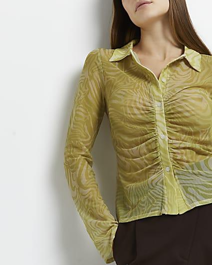Green animal print ruched shirt