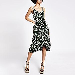 Green animal print ruffle cami slip dress