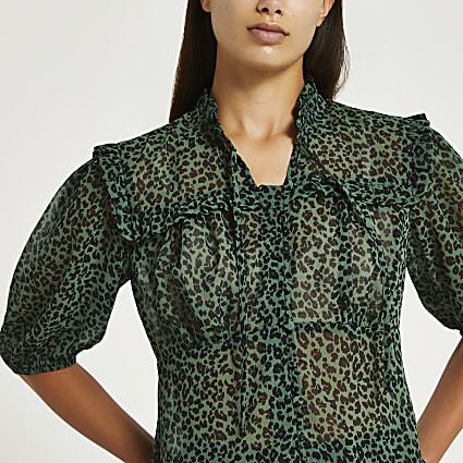 Green animal print tie frill top