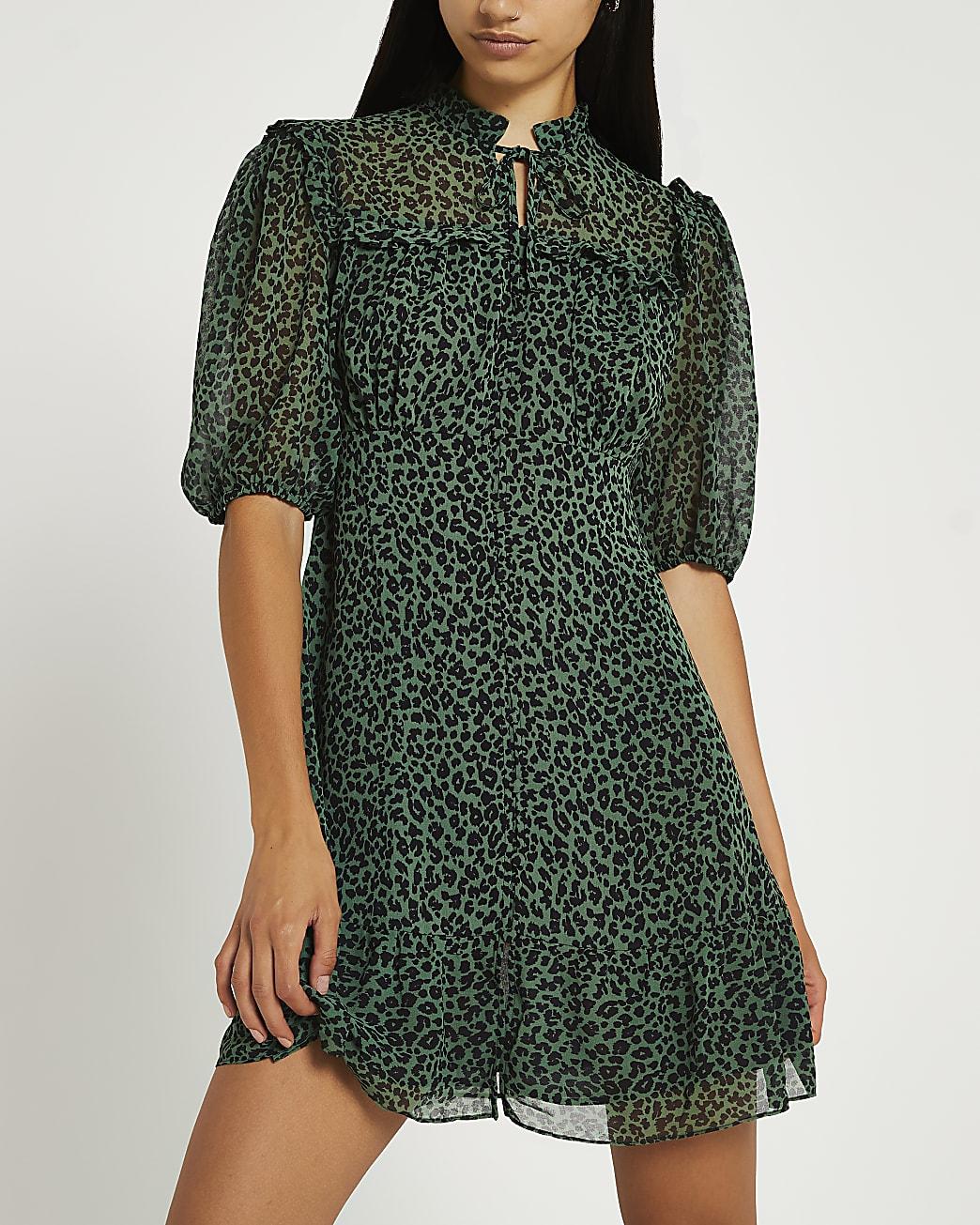 Green animal print tie neck mini dress