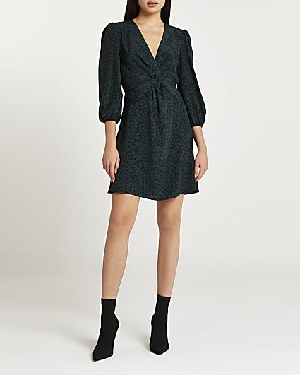 Green animal print twist front mini dress