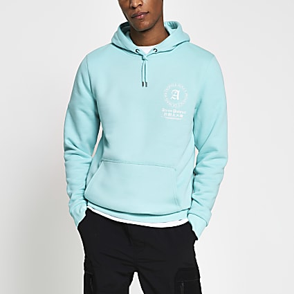 Green back graphic slim fit hoodie