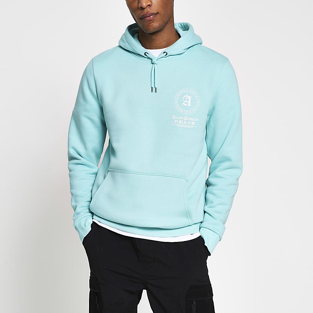Green back graphic slim fit hoodie