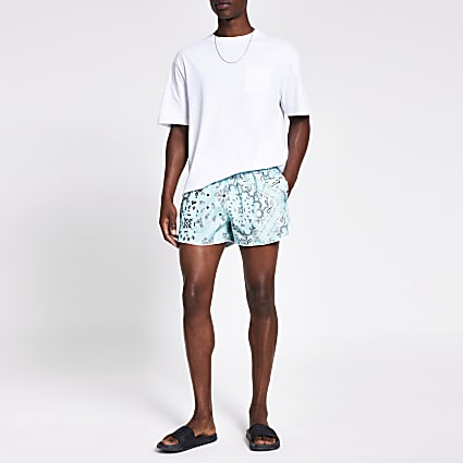 Green bandana printed swim shorts
