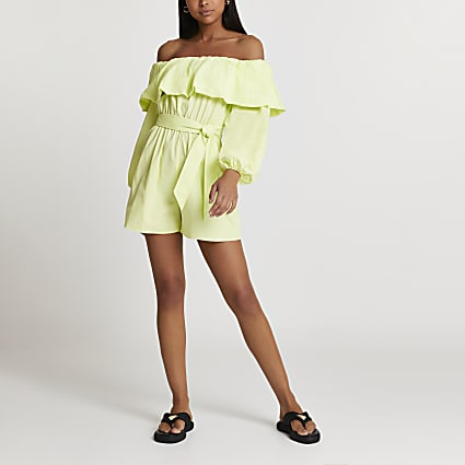 Green bardot frill belted playsuit