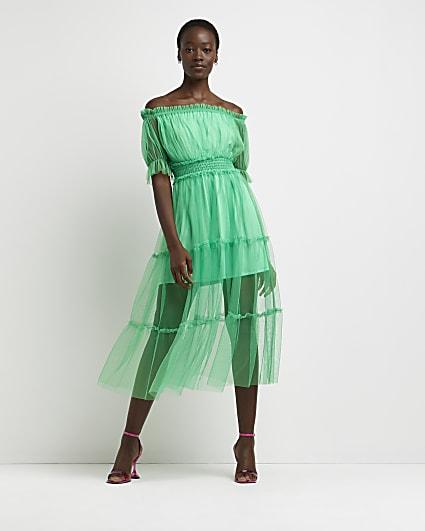 Green bardot tiered midi dress