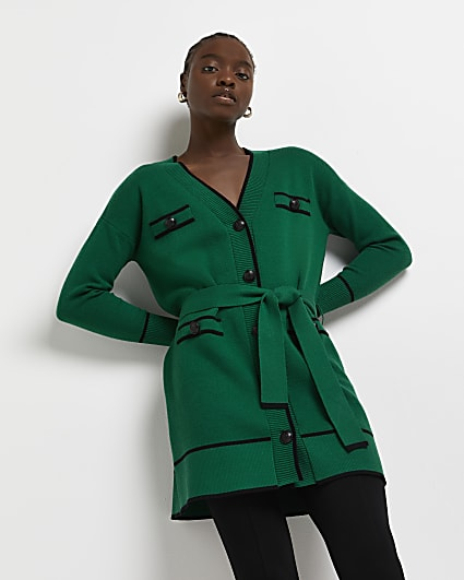 Green belted cardigan