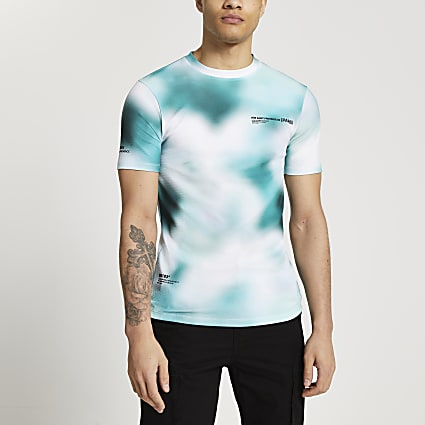 Green blur print muscle fit t-shirt