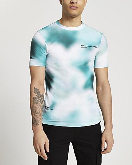 Green blur print muscle fit t-shirt