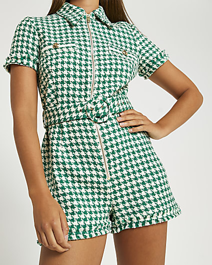 Green boucle playsuit