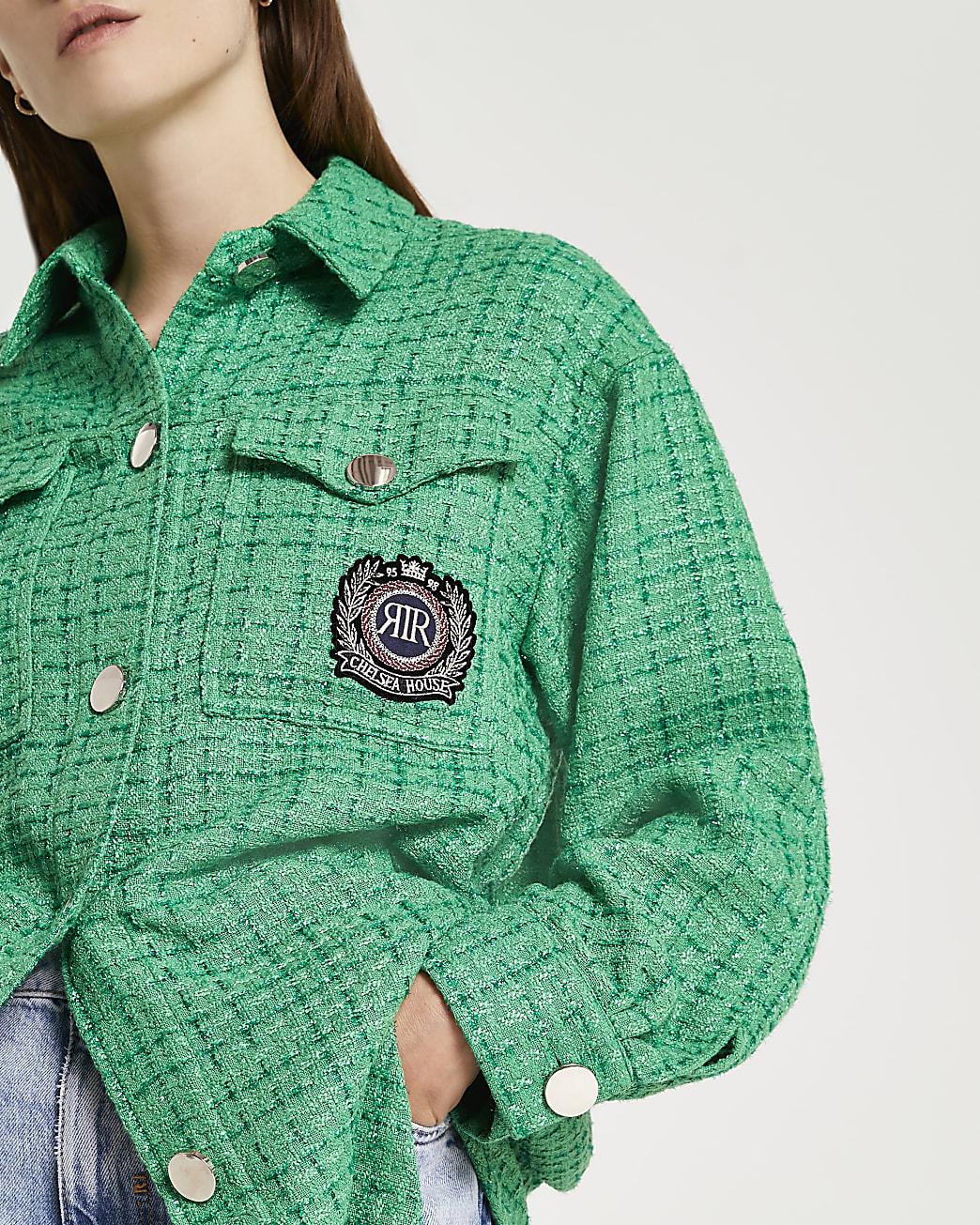 Green boucle shacket