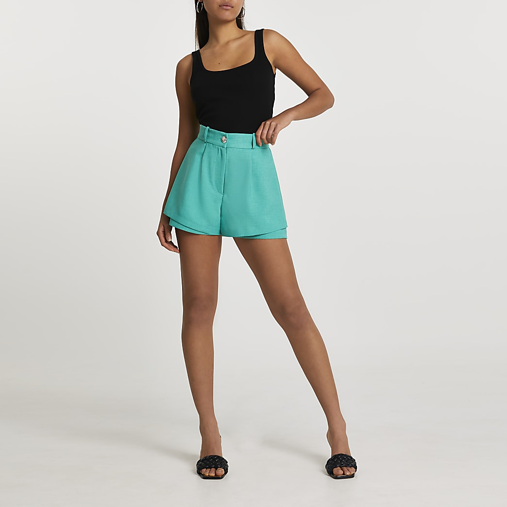 Green button detail shorts