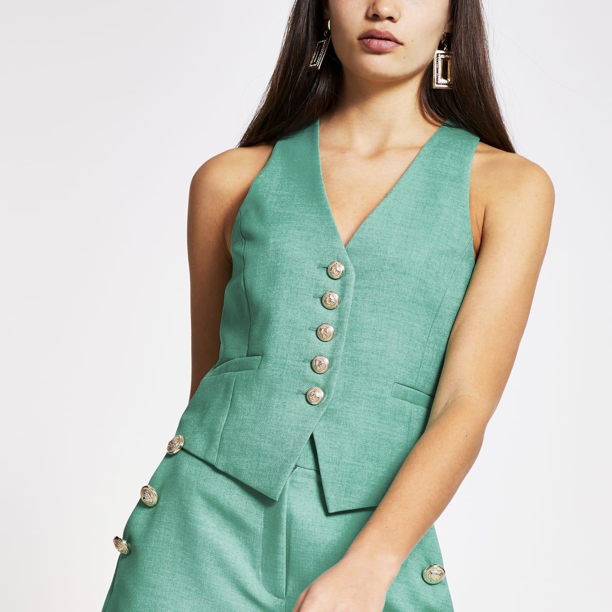 Green button front waistcoat