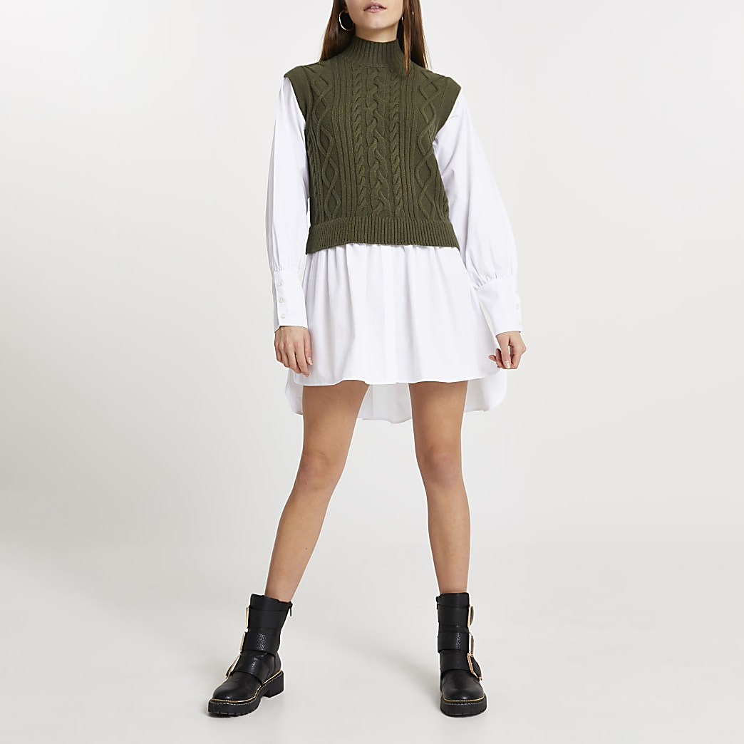 Green cable knit high neck shirt dress