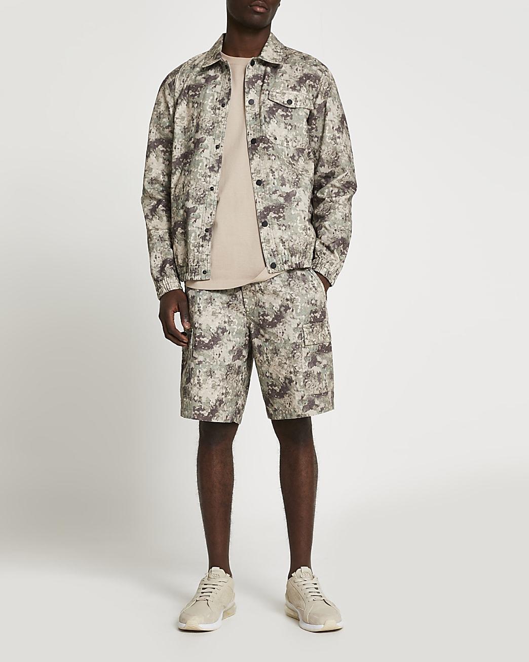 Green camo print cargo shorts