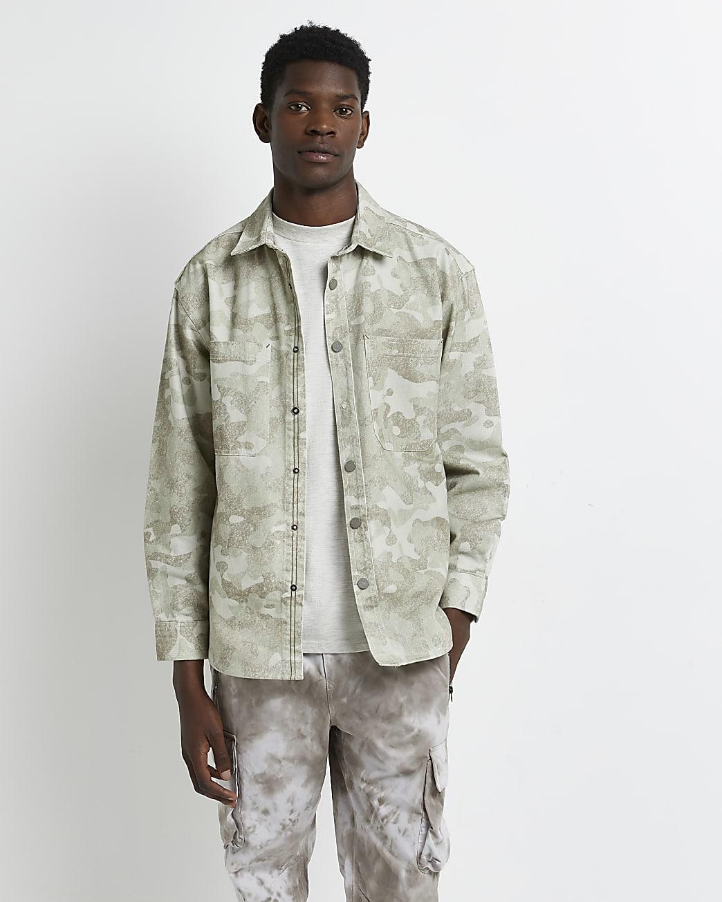 Green camo print long sleeve shirt