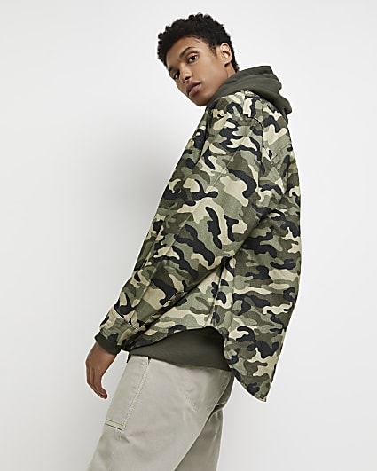 Green camo print oversized fit shacket