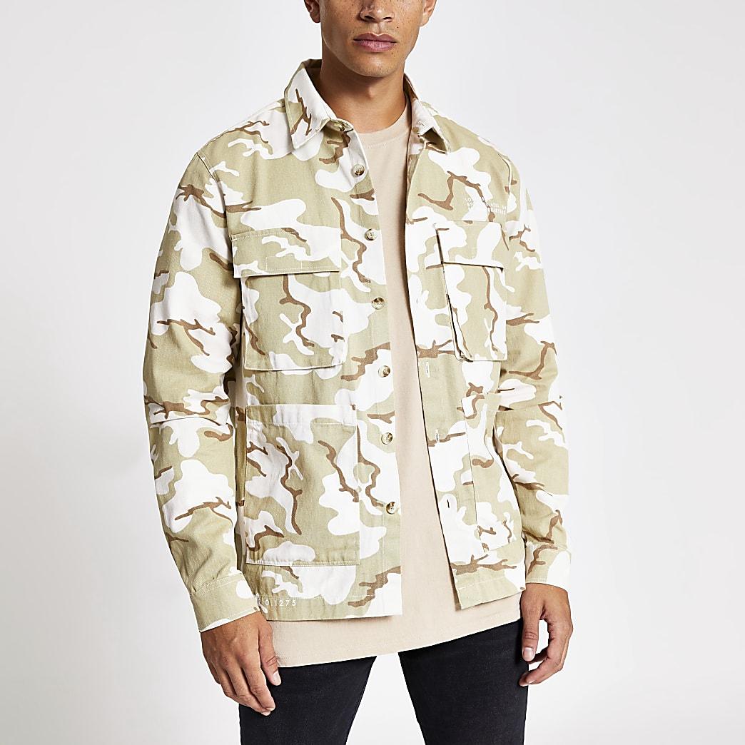 Green camo print regular fit overshirt