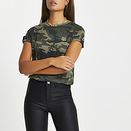 Green camo turn up sleeve t-shirt