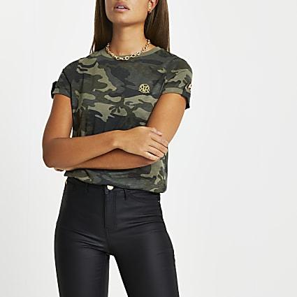 Green camo turn up sleeve t-shirt