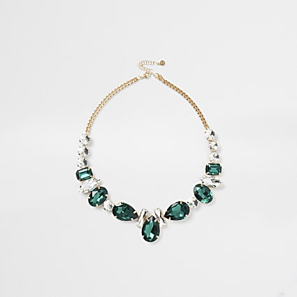 Green chain diamante detail necklace