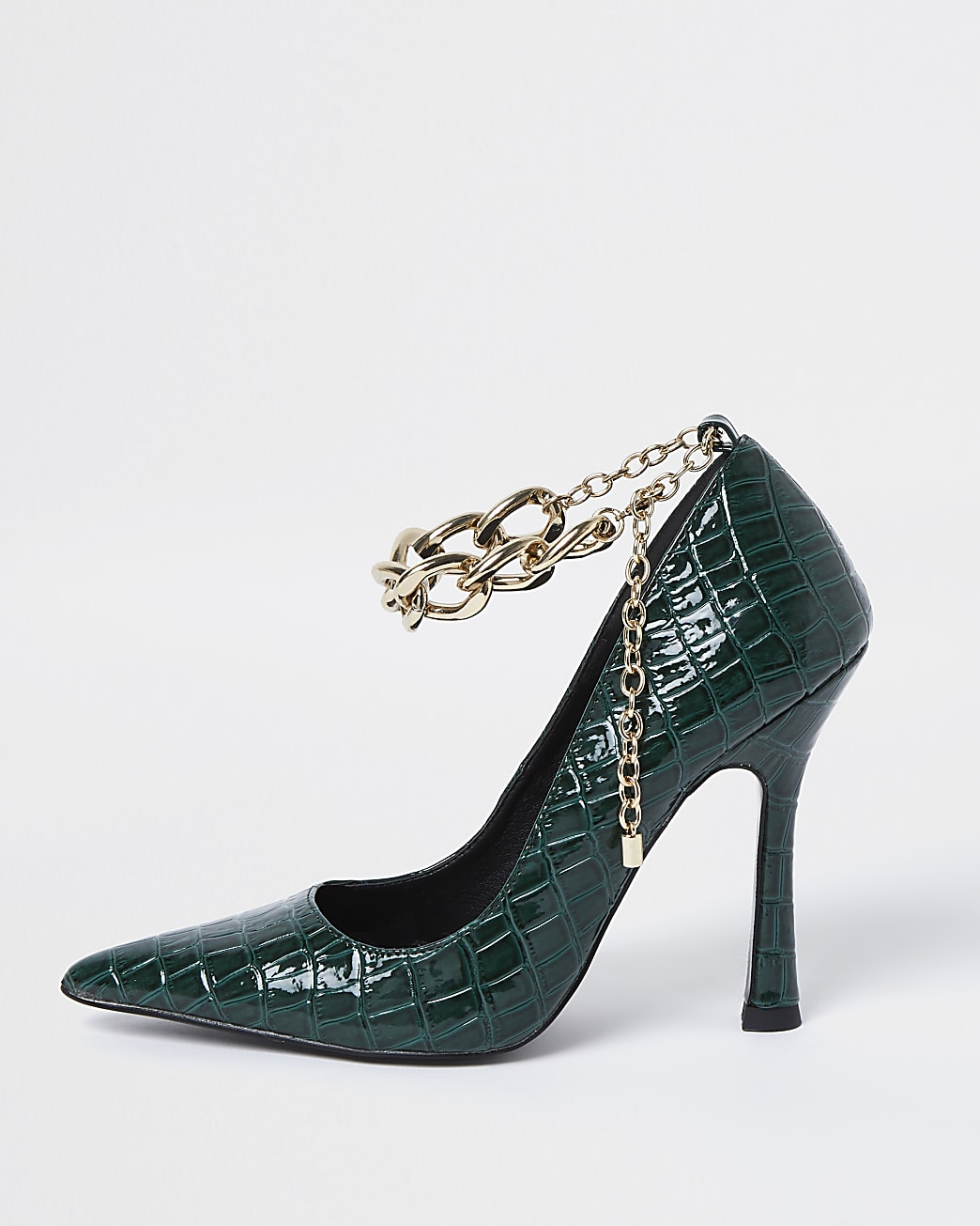 Green chain strap court shoes
