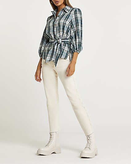 Green check belted shirt