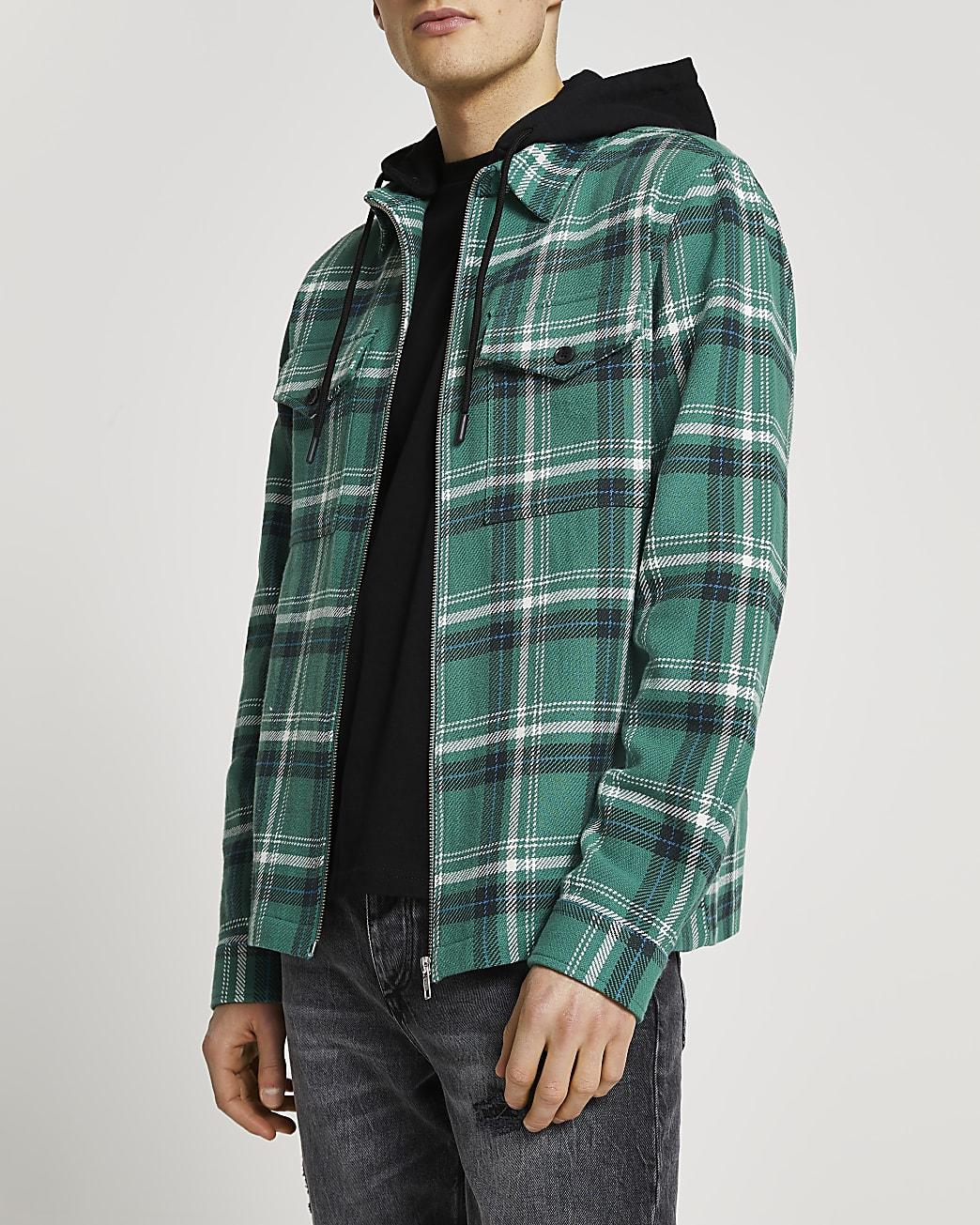 Green check detachable hood shacket