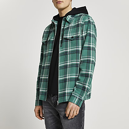Green check detachable hood shacket