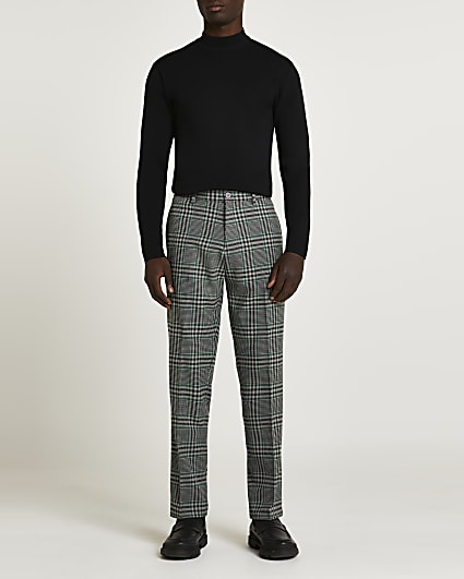 Green check print loose fit trousers