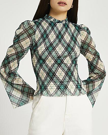 Green check shirred blouse