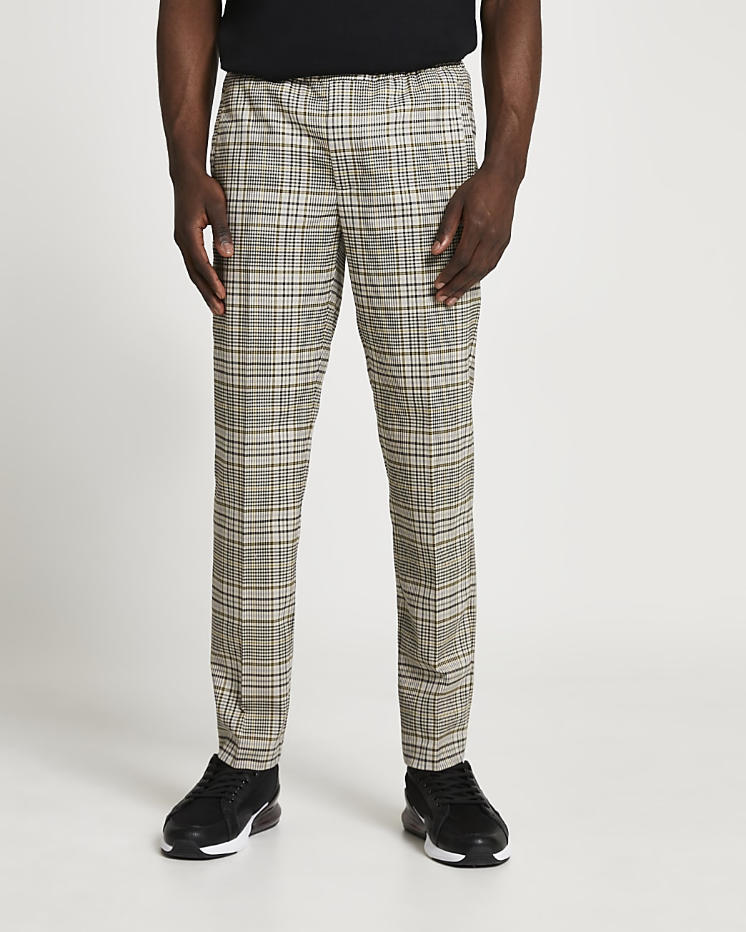 Green check slim fit smart joggers