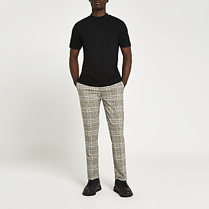 Green check slim fit trousers
