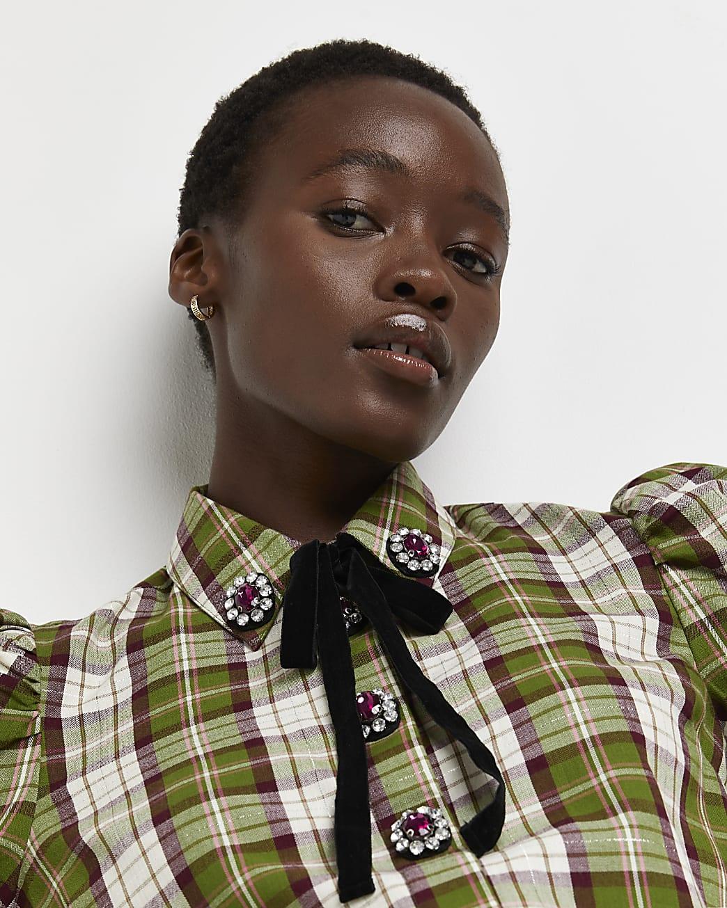 Green check tie neck shirt