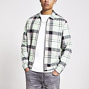 Green check zip front shirt