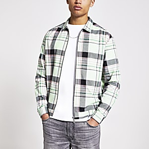 Green check zip front shirt
