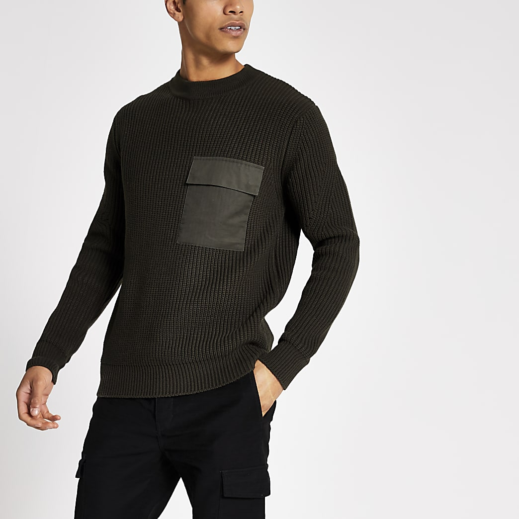 Green chest patch pocket knitted jumper